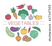 a circle of vegetables. cooking ... | Shutterstock .eps vector #617147555