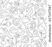 seamless pattern of vegetables. ... | Shutterstock .eps vector #617147567