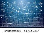 smart city with neon buildings  ... | Shutterstock .eps vector #617152214