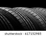 car tires on black background | Shutterstock . vector #617152985