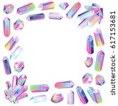 crystals frame isolated.... | Shutterstock .eps vector #617153681