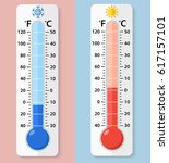 thermometer fahrenheit and... | Shutterstock .eps vector #617157101