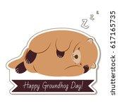 happy groundhog day typography... | Shutterstock . vector #617165735
