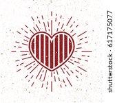 vintage stripe heart symbol...   Shutterstock . vector #617175077