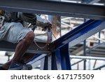 april 8  2017 welder at... | Shutterstock . vector #617175509