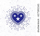 vintage heart star symbol with... | Shutterstock . vector #617181161