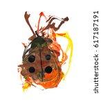 Hand Paint Watercolor Ladybug...