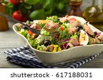tuna salad with lettuce  eggs... | Shutterstock . vector #617188031