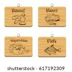 set of four cutting wooden... | Shutterstock .eps vector #617192309