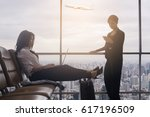 two asian businesswoman sitting ... | Shutterstock . vector #617196509