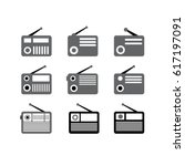 vector vintage radio icons set | Shutterstock .eps vector #617197091