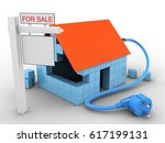 3d illustration of block house... | Shutterstock . vector #617199131