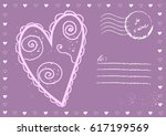 vector vintage postcard with... | Shutterstock .eps vector #617199569