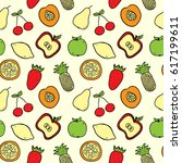 hand drawn fruits seamless... | Shutterstock .eps vector #617199611