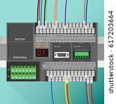 plc controller with wiring | Shutterstock .eps vector #617203664
