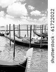 Gondolas near  Doge's Palace, Venice, Italy. Back-White style. - stock photo