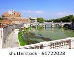 Castle Sant Angelo and bridge on Tiber , Rome, Italy. - stock photo