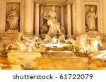 Fountain  di Trevi - most famous Rome's fountains in the world. Italy. Night scene. - stock photo