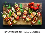 chicken or turkey and...   Shutterstock . vector #617220881