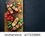 chicken or turkey and... | Shutterstock . vector #617220884