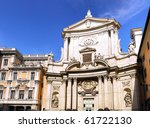 Great church in center of Rome, Italy. - stock photo