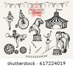 retro circus performance set... | Shutterstock .eps vector #617224019