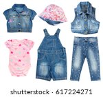 fashion denim baby clothes set... | Shutterstock . vector #617224271