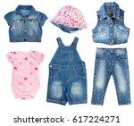 fashion denim baby clothes set... | Shutterstock . vector #617224271