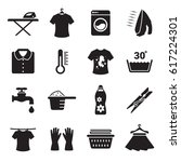 laundry icons set. black on a... | Shutterstock .eps vector #617224301