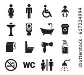 toilet  restroom wc icons set.... | Shutterstock .eps vector #617224994