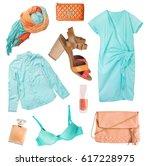 cyan orange summer female... | Shutterstock . vector #617228975