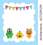 cute monster happy birthday... | Shutterstock .eps vector #617239154