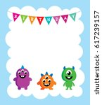 cute monster happy birthday... | Shutterstock .eps vector #617239157