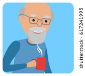man with cup in his hand... | Shutterstock .eps vector #617241995