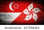 Flags Of Singapore And Hong...
