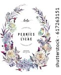 watercolor oval floral wreath... | Shutterstock . vector #617263151