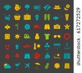 summer glyph color icon set....   Shutterstock .eps vector #617272529