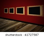 frame an red wall - stock photo