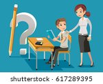 teacher helped solve the... | Shutterstock .eps vector #617289395