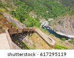 big wooden walkways in arouca... | Shutterstock . vector #617295119