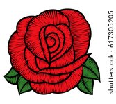 red rose flower embroidery  red ... | Shutterstock .eps vector #617305205