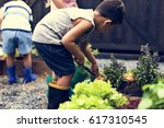 kid in a garden experience and... | Shutterstock . vector #617310545