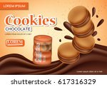 sandwich chocolate cookies... | Shutterstock .eps vector #617316329
