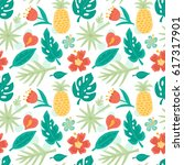 seamless pattern with hand... | Shutterstock .eps vector #617317901