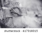 holy cross  crown of thorns and ... | Shutterstock . vector #617318315