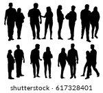lovers silhouette set   vector | Shutterstock .eps vector #617328401