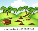 mountains with chopped trees... | Shutterstock .eps vector #617332844