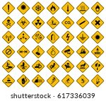 collection set of warning sign ... | Shutterstock .eps vector #617336039