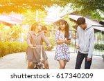 group of asian teenager walking ... | Shutterstock . vector #617340209