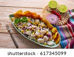 ceviche peruvian recipe with... | Shutterstock . vector #617345099